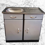 900 Stainless steel sink top with two doors