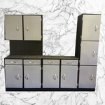 Metallic Kitchen Unit. Black. Silver 3 piece